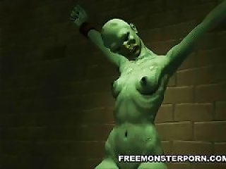 Restrained 3d Zombie Babe Fingered